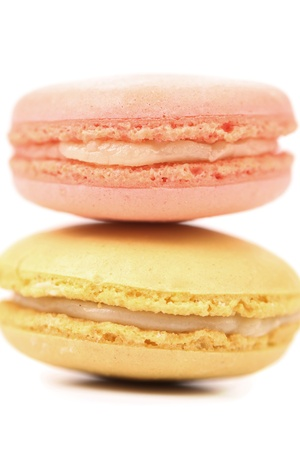 Two various macaron cakes.Isolated on a white background photo