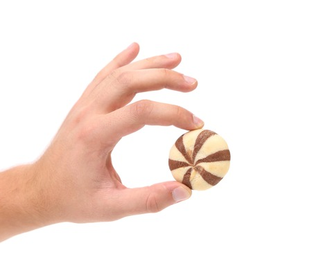 Hand holds cookie biscuits on white background. photo