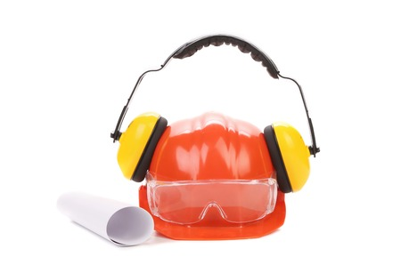ear muffs: hard hat, goggles and ear muffs isolated on white background