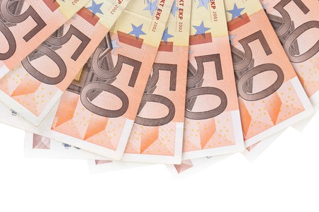 Fifty hundred euro banknotes in a row.European Union Currency. Stack of 50 euro banknotes. on white background. photo