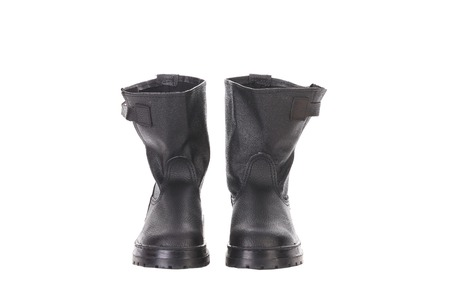 clasp feet: Black mans boots. Back view. Isolated on a white background. Stock Photo