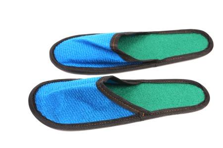 houseshoe: Blue slippers. Isolated on a white background. Stock Photo