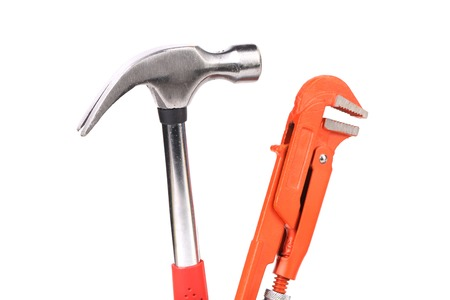 alligator wrench: Alligator wrench and hummer. Isolated on a white background.