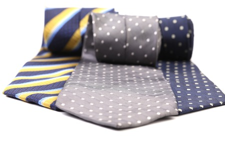 Three multi-colored tie. Isolated on a white background. photo