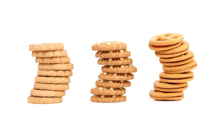 Three stacks of different biscuits. Isolated on a white background. Stock Photo - 22314514