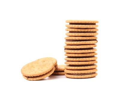 Stack of filled cookies. Isolated on a white background photo