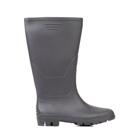 High rubber boot black color. Isolated on a white background. Stock Photo - 22345410