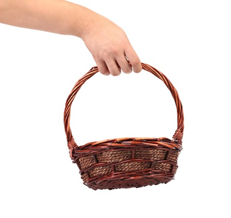 cepelia: Hand hold vintage weave wicker basket. Close up Stock Photo