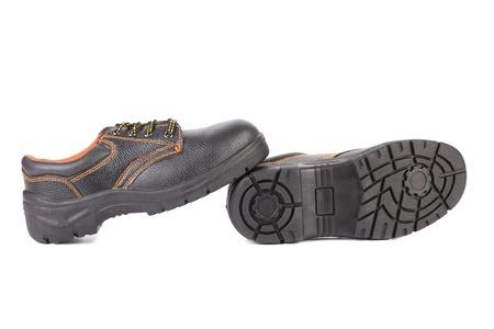 Black man's boots with orange stitch. Stock Photo - 22477135