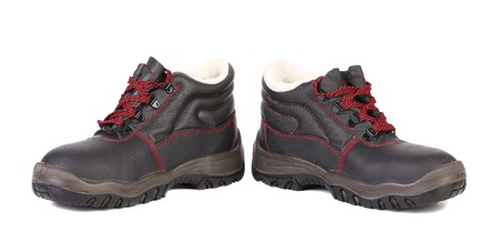 Black man's boots with red lace.  Stock Photo - 22477142