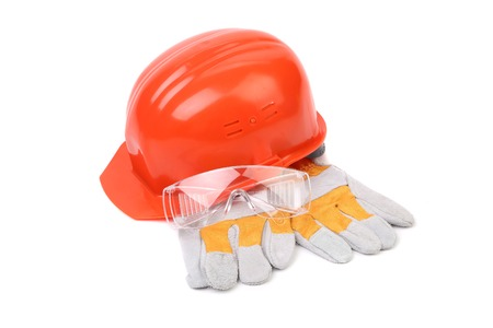 environmental safety: Hard head protective glasses and gloves. Isolated on white background.