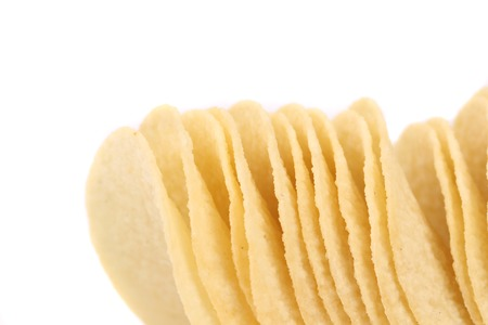 Potato chips. Place for text. Isolated on white background. Place for text. photo