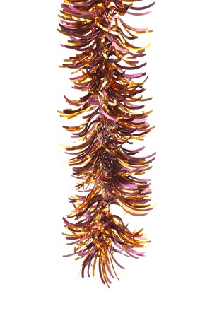 festoon: Christmas golden tinsel.  Stock Photo
