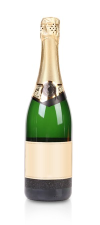 Green bottle of champagne with golden top  Isolated on a white background  photo