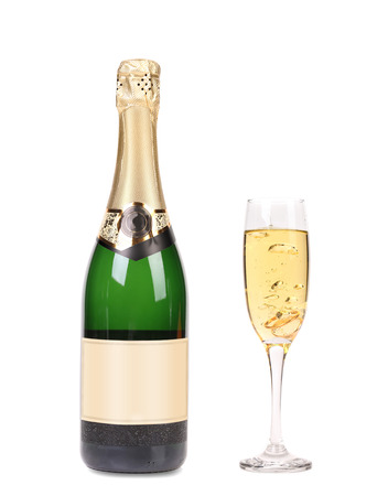 A bottle of champagne and full glass  Isolated on a white background  photo