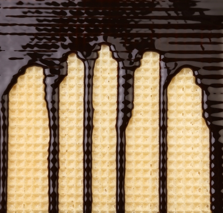 Background of wafer  Stream chocolate  Close up  photo