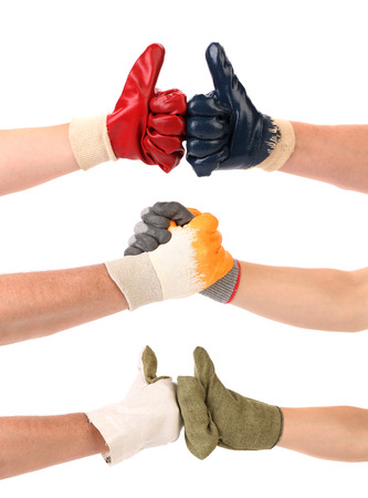 chear: Different congratulations with hands  Stock Photo