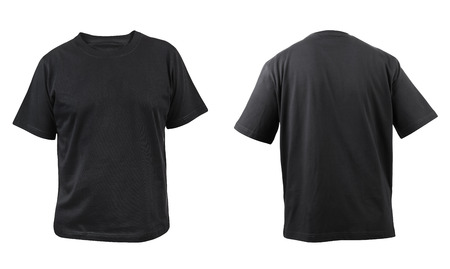 black fabric: Black t-shirt front and back view  Isolated on a white background