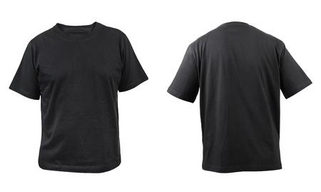 fondo blanco y negro: Negro frente t-shirt y posterior aislado en un fondo blanco Foto de archivo