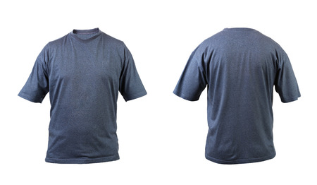 Blue gray t-shirt front and back view  Isolated on a white background  photo