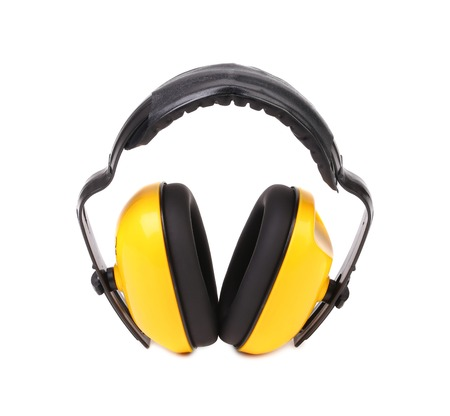 Yellow protective ear muffs. Isolated on a white background. photo