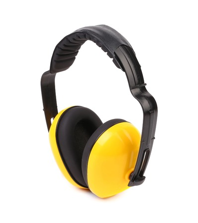 Side view of protective ear muffs. Isolated on a white background. photo
