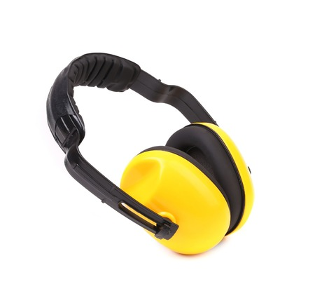 Closeup of protective ear muffs. Isolated on a white background.