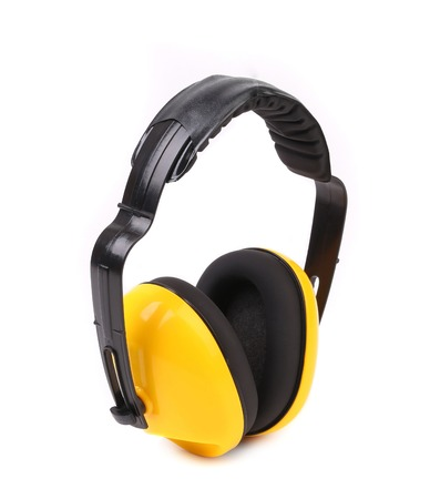 ear muffs: Yellow protective ear muffs. Side view. Isolated on a white background.