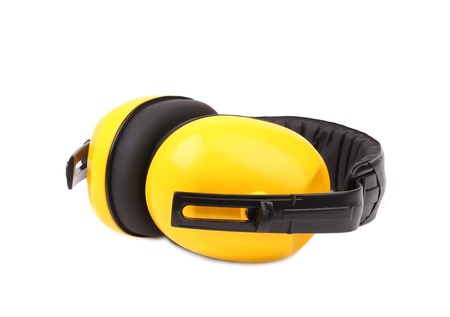 Closeup of protective ear muffs. Isolated on a white background. photo