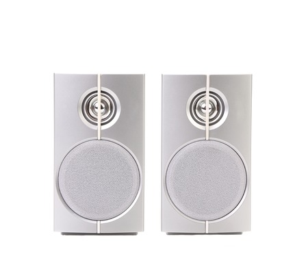 Gray sound speakers. Isolated on a white background. photo