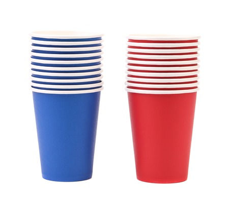 Two colorful paper coffee cup. Isolated on a white background Stock Photo - 22734644