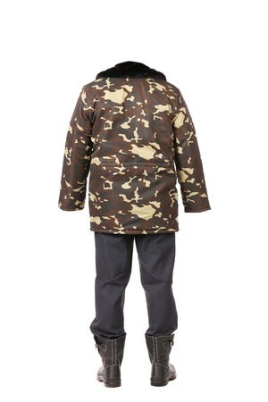 Camouflage winter jacket. Isolated on a white background. photo