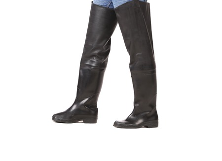 wellingtons: Fishing wellingtons on man. Isolated on a white background.