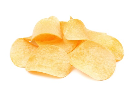 Potato chips.  Isolated on a white background. photo