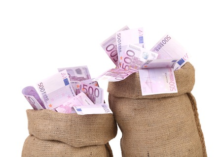 Euro bill in big sacks. Isolated on a white background. Stock Photo - 22813888
