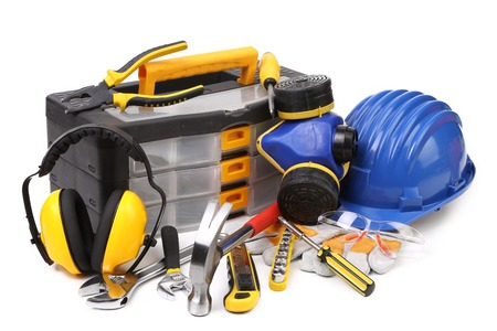 construction work: Various working equipment. Isolated on a white background.