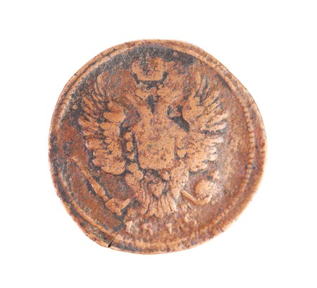 Closeup of old russian coin. Isolated on a white background. photo