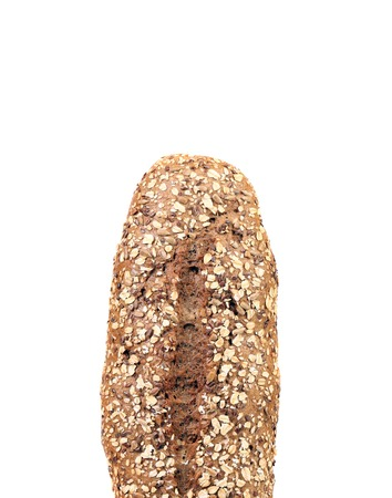 Bread with oat flakes and sesame seeds. Isolated on a white background. photo