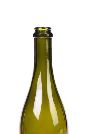 focus stacking: Empty bottle of olive oil isolated on white background.