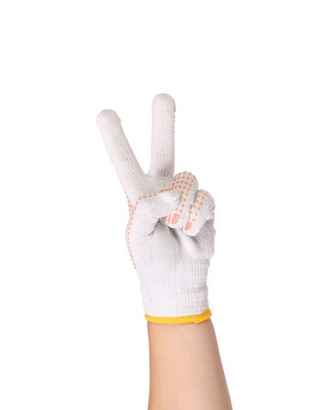 Thin work gloves shows symbol victory. Close up photo