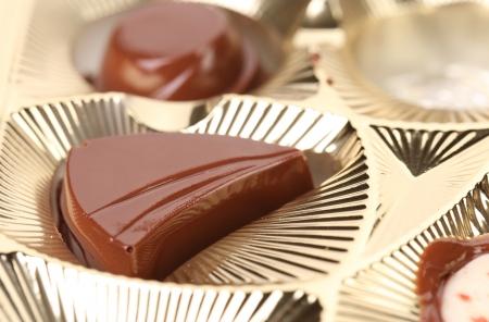 Background of box with chocolates. Whole background. photo