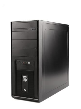 ordinateur de bureau: unité centrale de l'ordinateur. Isolé sur un fond blanc.