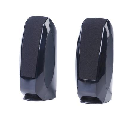 Schwarz Zwei Lautsprecher drahtlos. Isoliert auf einem weißen Hintergrund. Standard-Bild - 22782980