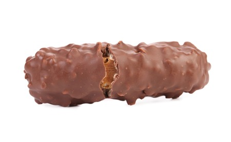 Closeup of broken chocolate bar. Isolated on a white background. photo