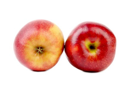 Two red apple tales. Isolated on a white background. photo