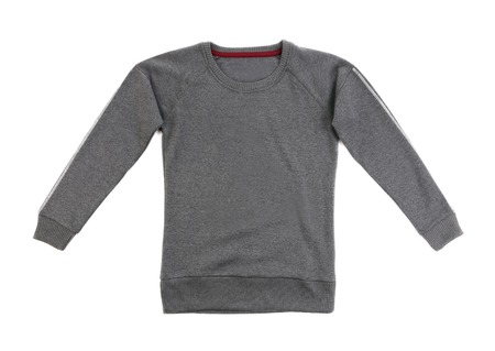 Gray t-shirt with long sleeves on white background photo