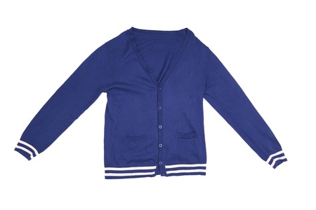 Trendy blue cardigan. Isolated on a white background Stock Photo
