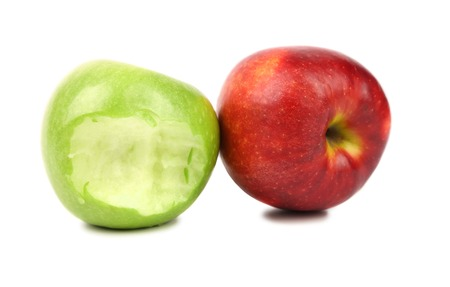 Apples. Green bitten and red. Isolated on a white background photo