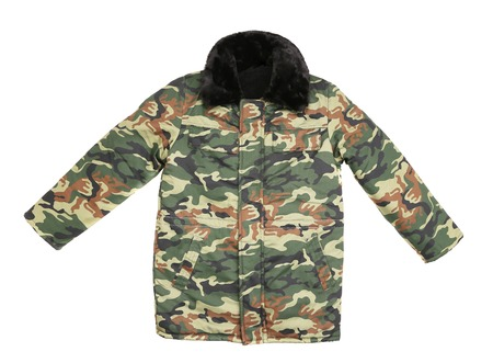 Camouflage winter jacket with black collar  Isolated on a white background photo