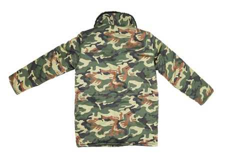 Camouflage winter jacket  Back view  Isolated on a white background photo